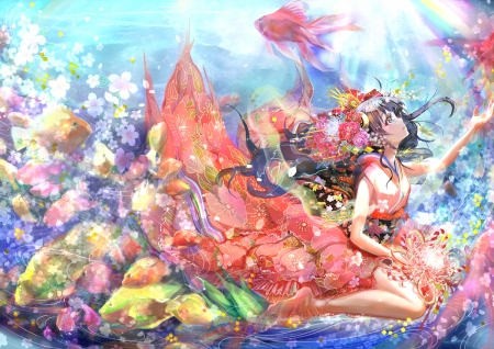 Goldfish - pretty, hd, scenic, fish, tails, ocea, beautiful, sea, sweet, goldfish, nice, fantasy, anime, beauty, bubbles, anime girl, scenery, long hair, underwater, lovely, female, tail, flora, swiming, water, girl, swim, flower, iden, lady, maiden, scene