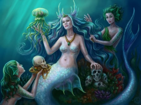 Mistress of the rivers - underwater, ladydreamart, fantasy, girl, lady dreamart, mermaid, jellyfish, blue, skull