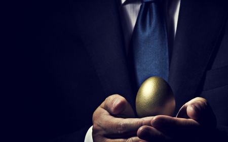 Happy Easter! - suit, golden, tie, eg, hand, easter, man, business