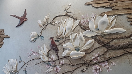spring, spring - birds, flowers, art, paintings, cool