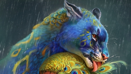 Fantasy Tiger Art With Winges