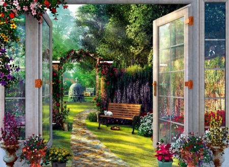 In The Enchanted Garden - Enchanged, Garden, Flowers, Nature