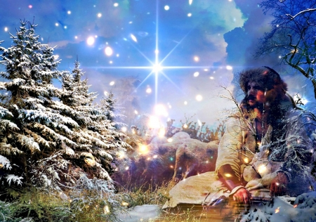 Winter Scripture - Trees, Sky, Star, Snow, Jesus, Lambs, Winter
