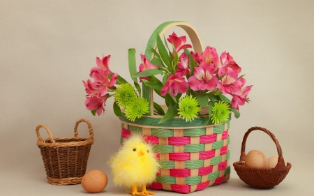 Happy Easter! - basket, easter, chick, punk, figurine, yellow, card, cute, egg, green, flower