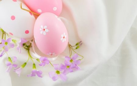 Happy Easter! - pink, egg, flower, pastel, easter, white, card