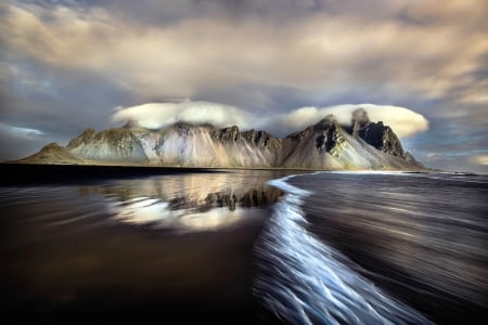 Iceland - water, reflection, iceland, mountains, clouds