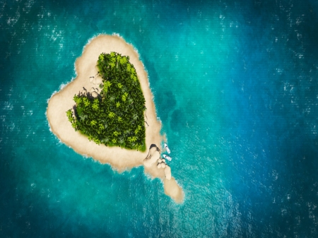 Heart island in the Ocean - Holiday, Summer, Tropical, Water, Travel, Vacation