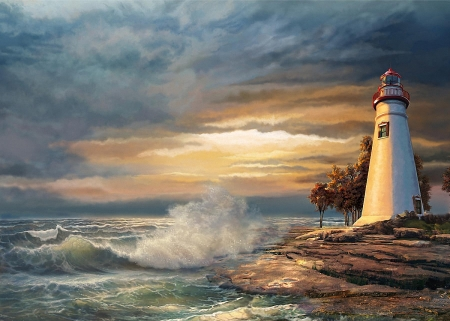 Sunset with Ohio Marblehead Lighthouse - clouds, sky, artwork, sea, painting