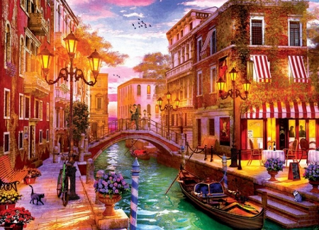 Sunset over Venice - houses, people, painting, sky, artwork, canal, cat, boat, bridge, restaurant, flowers