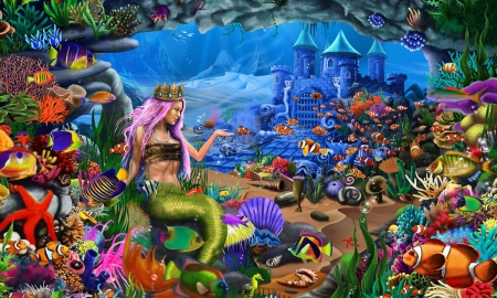 Mermaid in Her Kingdom - colorful, enchanting, fish, Mermaids, ocean, castle, kingdom, sea, magical