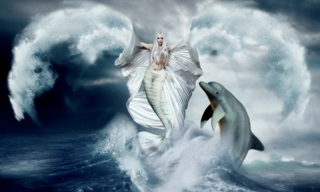 Queen of The Sea - dreamy, enchanting, water, dolphins, Mermaid, ocean, digital, sea, magical
