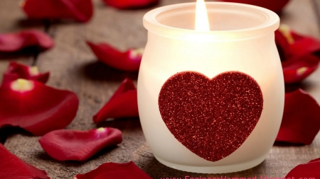 the scent of romance - candle, petals, flame, heart