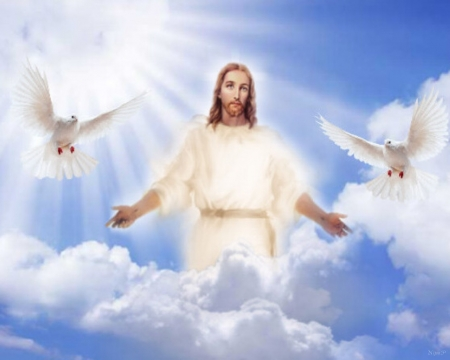 The Resurrection of Jesus - Jesus, Easter, Resurrection, heaven, pigeons, clouds