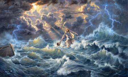 To Have Faith - water, Sky, Jesus Christ, savior, ocean, religious, waves, storm, stormy sea