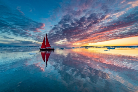 Sunset - blue, sea, red, cloud, yacht, orange, sunset, sky, boat, water, vara, summer, reflection