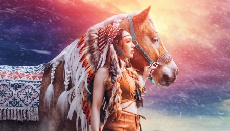 :-) - girl, model, indian, feather, native, horse, woman, orange, cal, asian