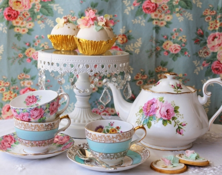 Afternoon Tea - saucers, high, party, pot, tea, kettle, noon, cups, biscuits