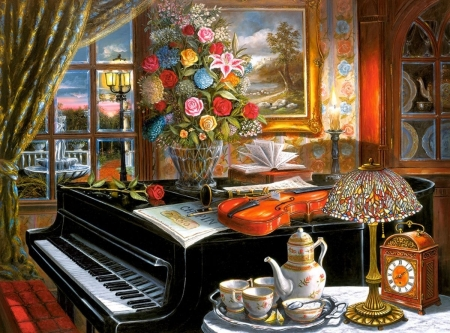 Music Room - afternoon, class, panio, high, flowers, puzzle, tea