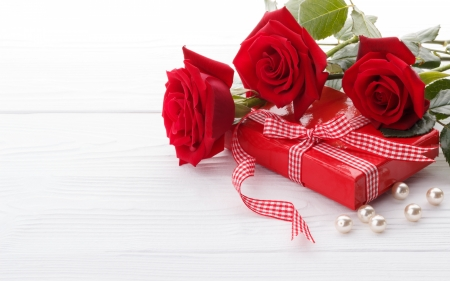 Happy Valentine's Day! - red, pearl, rose, ribbon, valentine, gift, white, card, flower