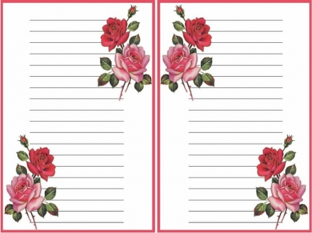 Printable Stationary 4 - green, pink, white, flowers, design, roses