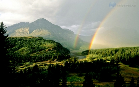 Double Rainbow Swift Current River - Current, Montana USA, Swift, River, Double, Rainbows
