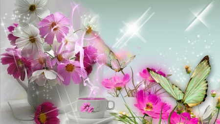 Cosmos and Butterflies - bouquet, coffee, flowers, vase, cup, butterflies, tea, Firefox theme, stars, sparkle
