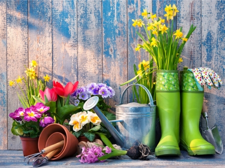 Easter Break - flowers, gardener utensils, can, shoes, pots
