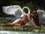 Fantasy Girl and a Swan