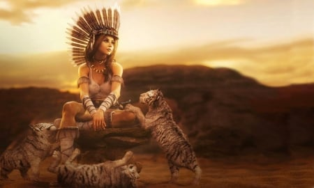 Fantasy Girl with Tiger Cubs - brown, playful, Fantasy girl, tiger, cubs, Fantasy, feathers, animals, lovely