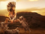 Fantasy Girl with Tiger Cubs