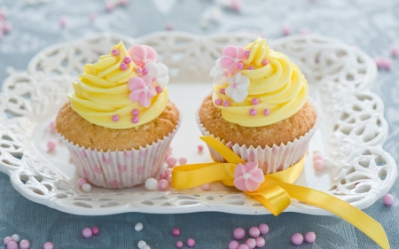 Springtime Treats - yellow, bow, delicate, elegant, sweet, dessert, liners, cupcakes, dish, plate, flowers, white, pink