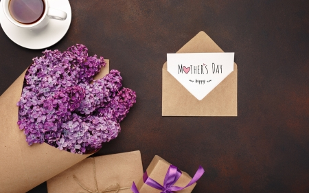 :-) - lilac, brown, day, spring, mother, card, letter, punk