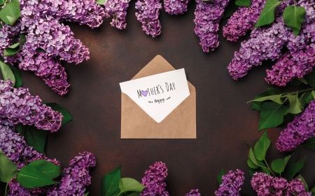 :-) - lilac, purple, brown, flower, day, mother, letter, card