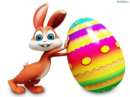 Bunny and Colored Egg - holy, brown, holiday, colored, easter, bunny, egg, cute, eyes, blue
