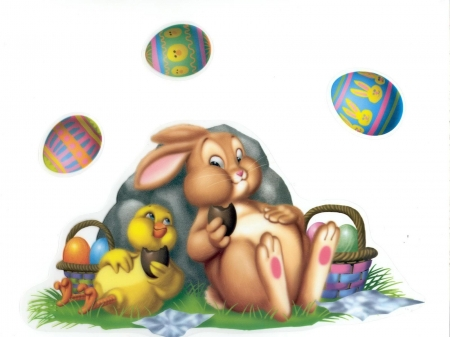 Easter Bunny An Chick Relaxing Other Animals Background