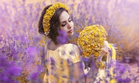 Beautiful woman with Flowers - yellow, beauty, flowers, feminine, Woman, face, softness, lovely, brunette, purple