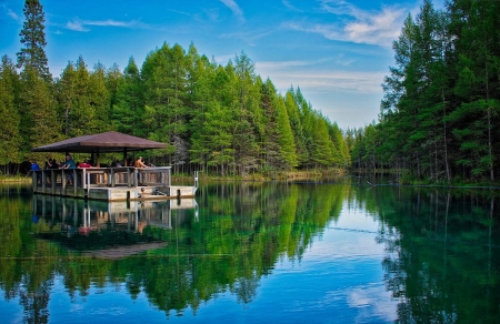 Kitchitikipi Big Springs Indian Lake Near Manistique - michigan, ponton, usa, forest, trees, reflections