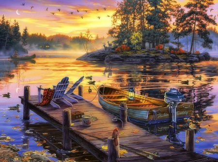 Morning Paradise - autumn, lakes, love four seasons, attractions in dreams, boats, paintings, paradise, landscapes, wildlife, nature, sunrise, rivers