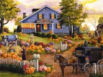 The cow and the pumpkin patch fall scene