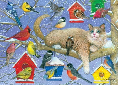 Cat and birds - birdhouse, painting, amy rosenberg, cat, pictura, pisici, art, red, yellow, bird, blue