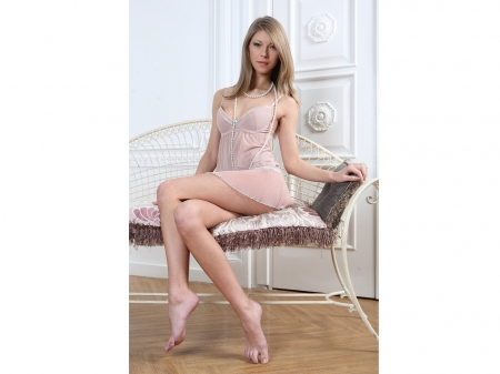 Anjelica Ebbi - pink lingerie, pearl necklaces, bare feet, decorative wall, blonde, sitting on white wicker chair