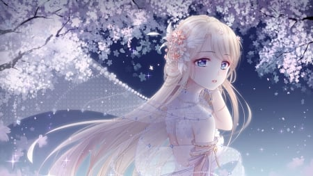 Miracle Nikki - sweet cute, petals flowers, blonde hair, soft, beautiful, sky, cherry blossom, tree, anime, beauty, anime girl, long hair, night, pretty, dress, flowers, lovely, wind, nature