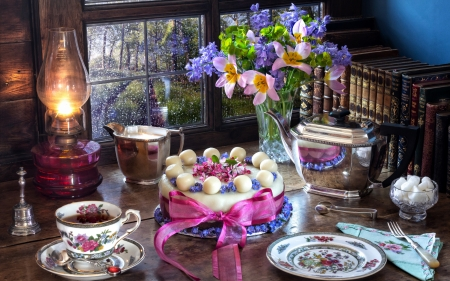 Happy Easter! - lantern, blow, cup, easter, pink, tea, cake, food, sweet, egg