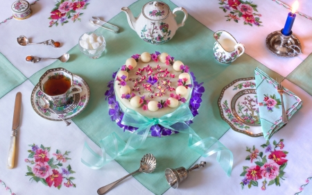 Happy Easter! - food, cup, easter, pink, dessert, blue, cake, tea, sweet, egg