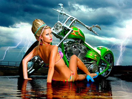 BROOKE WITH CHOPPER - girls, motorcycles