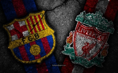 FC Barcelona vs Liverpool FC - ynwa, logo, match, champions league, uefa, fcb, barcelon, fc barcelona, emblem, club, football, soccer, barca, lfc, ucl, cl, barcelona, vs, sport, liverpool fc, liverpool, uefa champions league