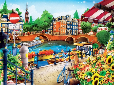 Amsterdam - houses, bicycle, flowers, dog, canal, artwork, netherlands, boats, city, bridge, painting