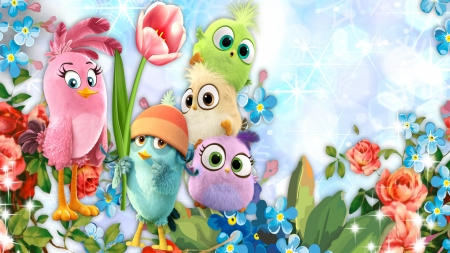Little Birds Flowers - movie, summer, birds, flowers, spring, floral, Firefox theme, animated, Angry Bird, garden