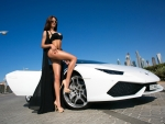 Lamborghini and a Bikini Model