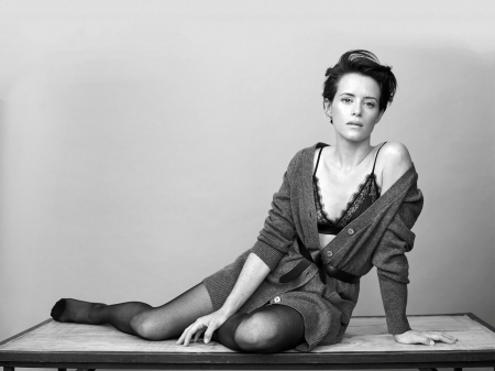 Claire Foy - legs, model, bra, Claire, black white, beautiful, Foy, 2019, stockings, actress, sweater, wallpaper, Claire Foy, hot, foot